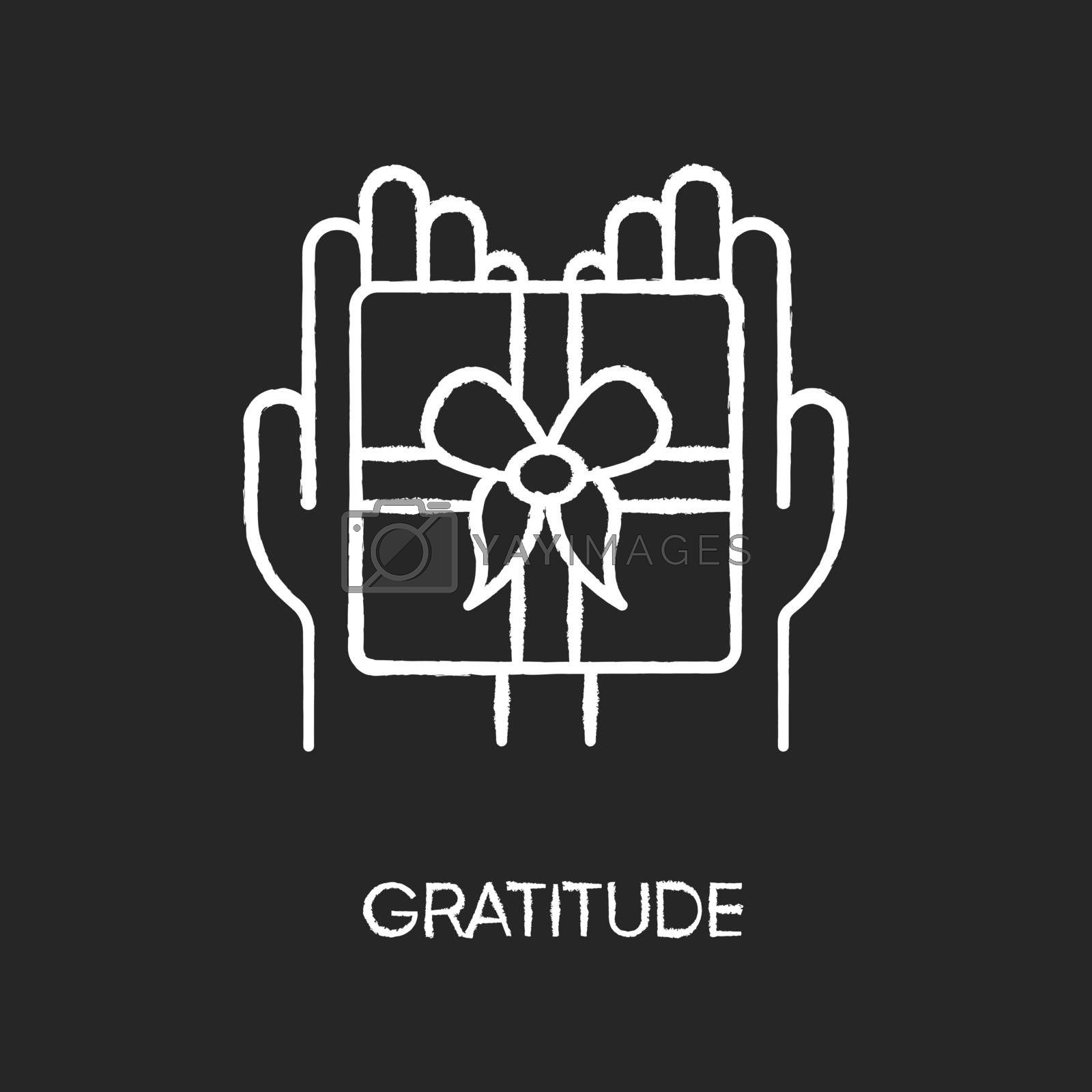 Gratitude chalk white icon on black background. Thankfulness, sign of appreciation, feeling grateful. Special occasion, holiday celebration. Present, gift isolated vector chalkboard illustration