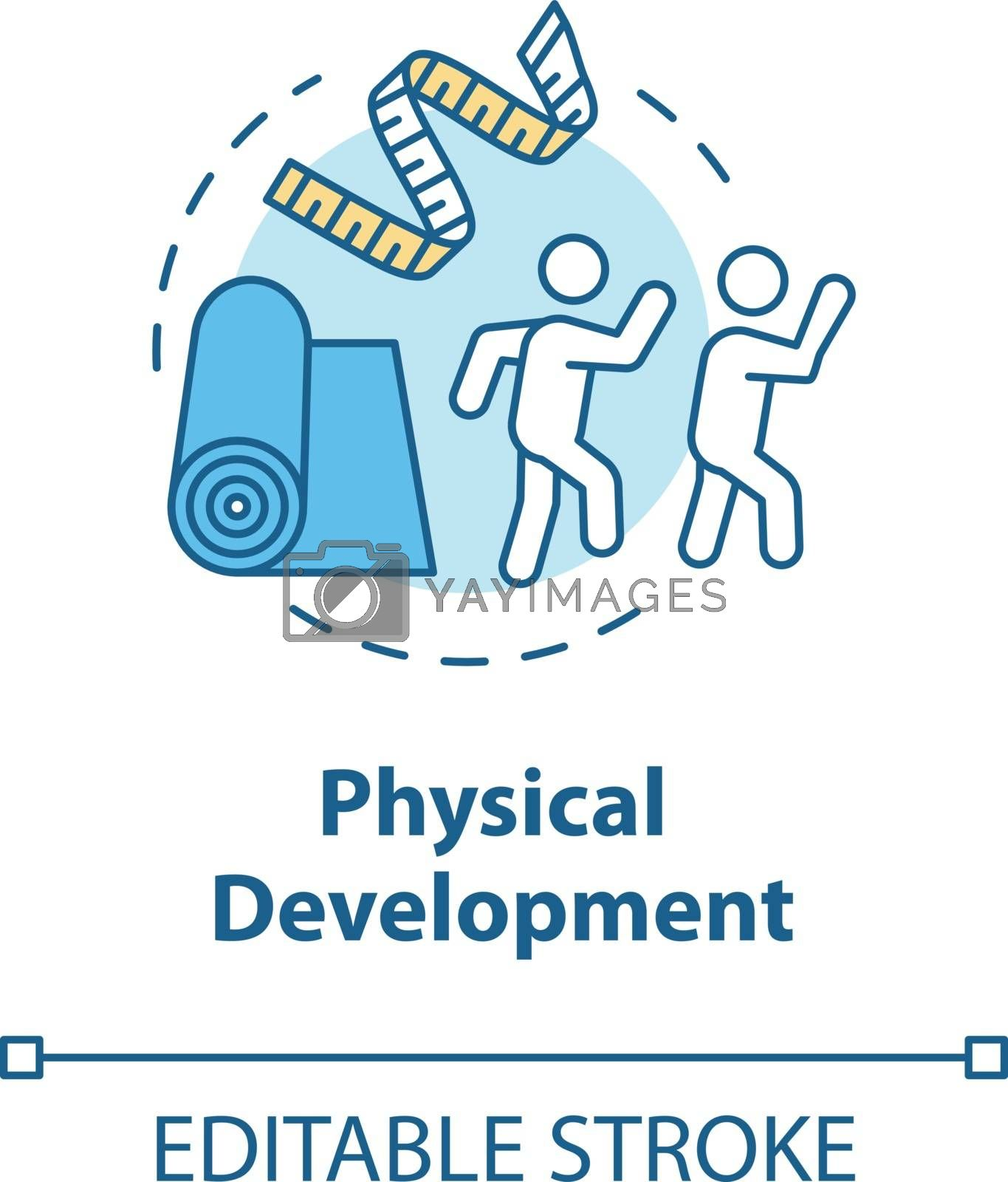 Physical development concept icon. Toddler growth and education. Child care activities. Kids physical idea thin line illustration. Vector isolated outline RGB color drawing. Editable stroke