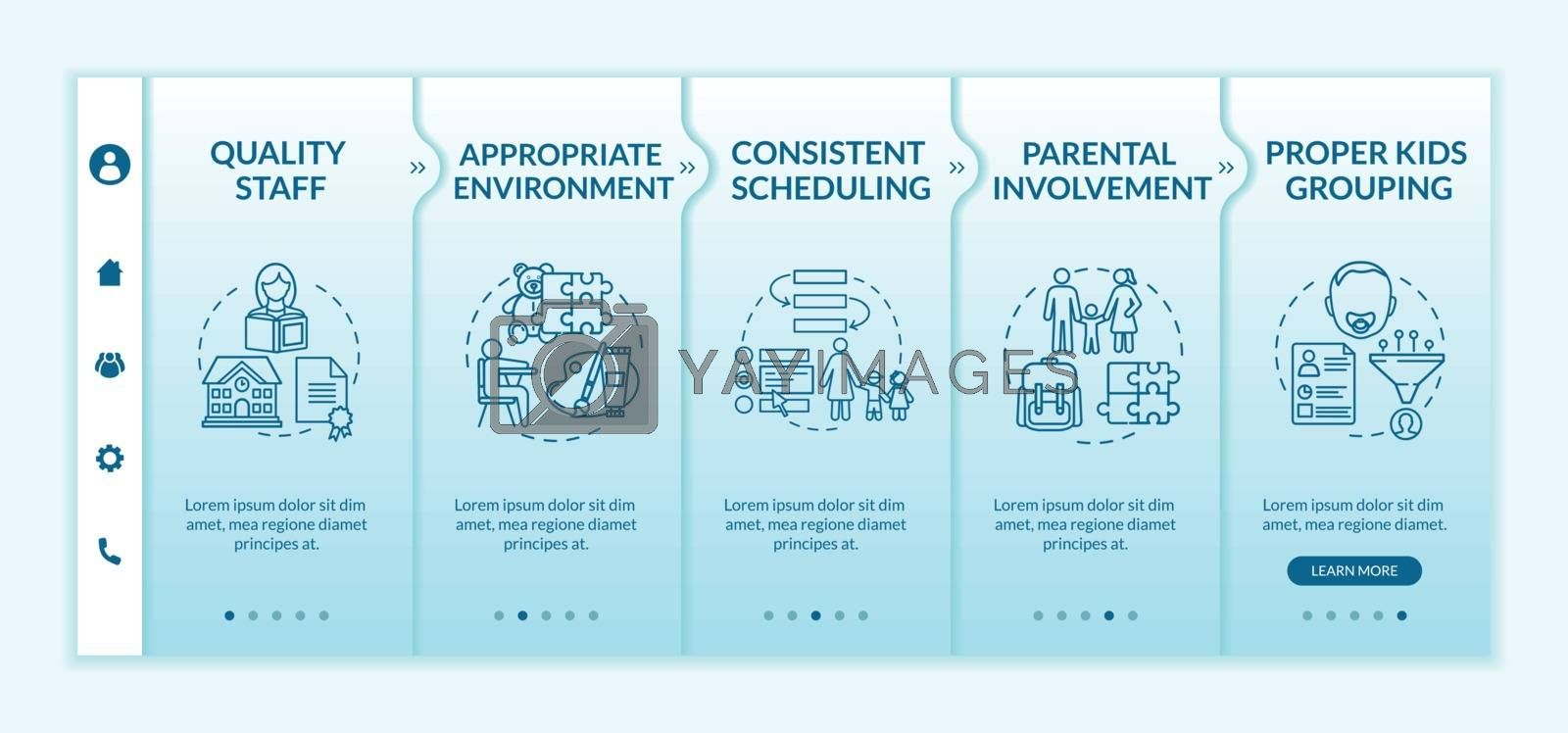 Daycare center effectiveness components onboarding vector template. Kindergarten. Toddlers development. Responsive mobile website with icons. Webpage walkthrough step screens. RGB color concept
