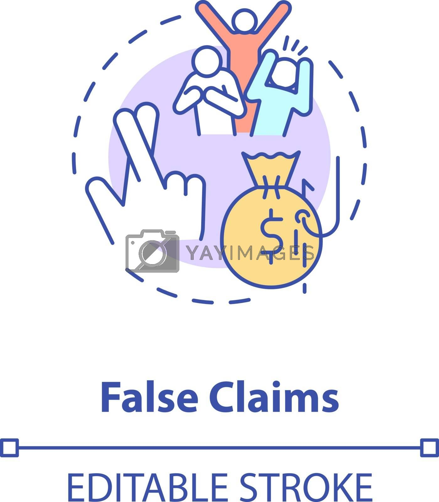 False claims concept icon. Common corporate crime. Financial fraud against government. American federal law idea thin line illustration. Vector isolated outline RGB color drawing. Editable stroke