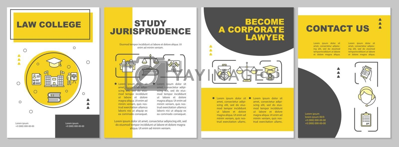 Law school brochure template. Studying jurisprudence. Flyer, booklet, leaflet print, cover design with linear icons. Vector layouts for magazines, annual reports, advertising posters