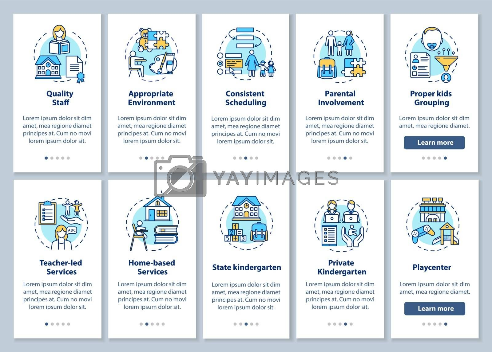 Kindergartens features and preschool education types onboarding mobile app page screen with concepts set. Walkthrough 5 steps graphic instructions. UI vector template with RGB color illustrations