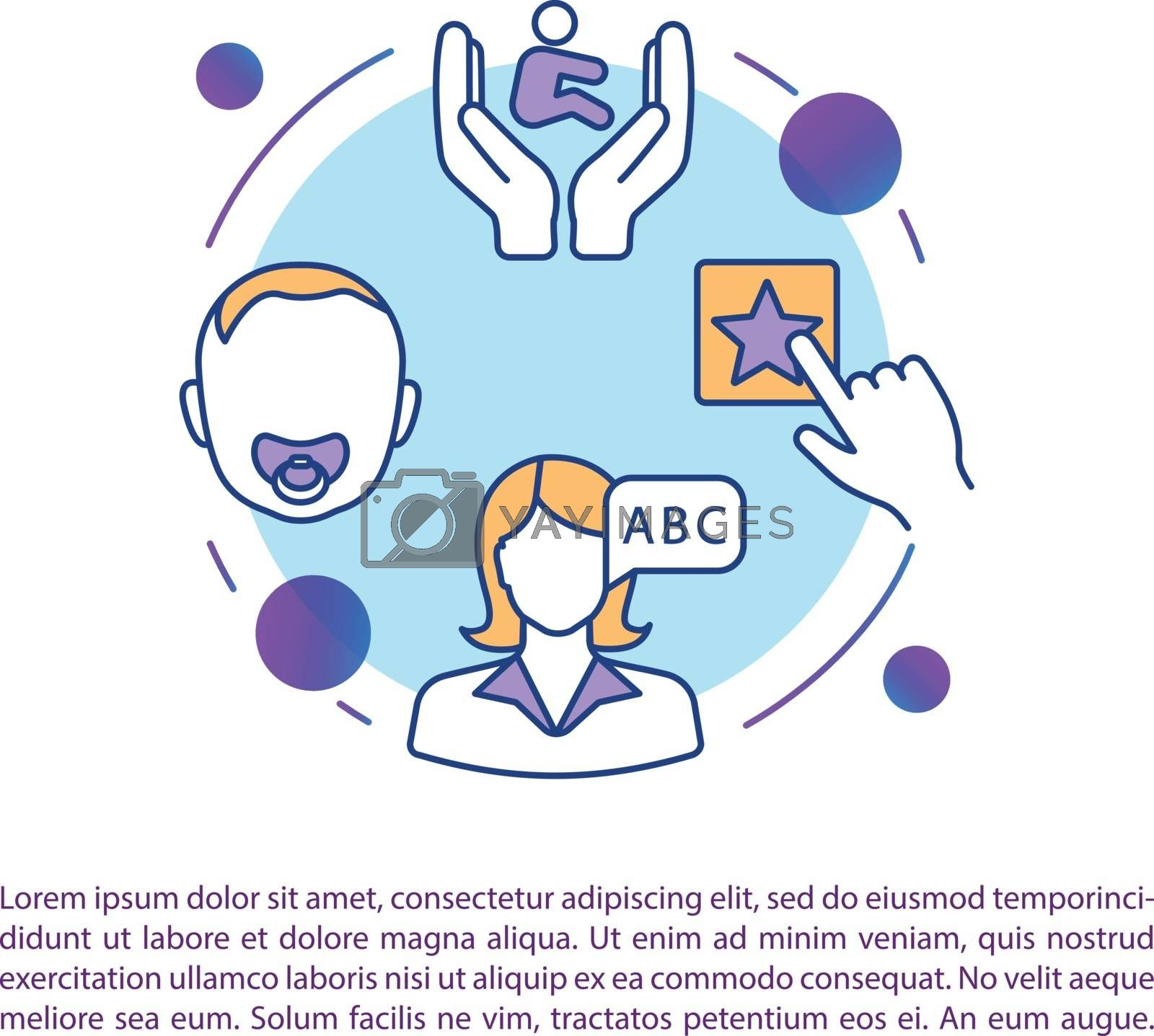 Preschool teacher concept icon with text. Early childhood development. Parenthood and daycare. PPT page vector template. Brochure, magazine, booklet design element with linear illustrations