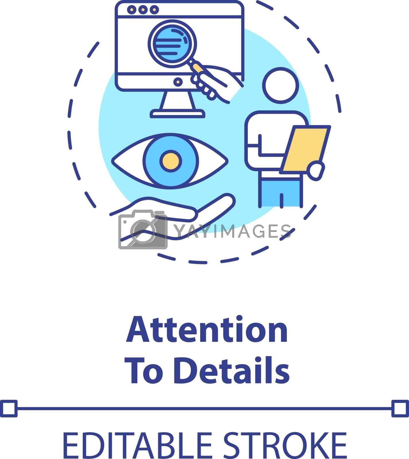 Attention to details concept icon. Attorney skill. Information analysis. Good lawyer requirement idea thin line illustration. Vector isolated outline RGB color drawing. Editable stroke