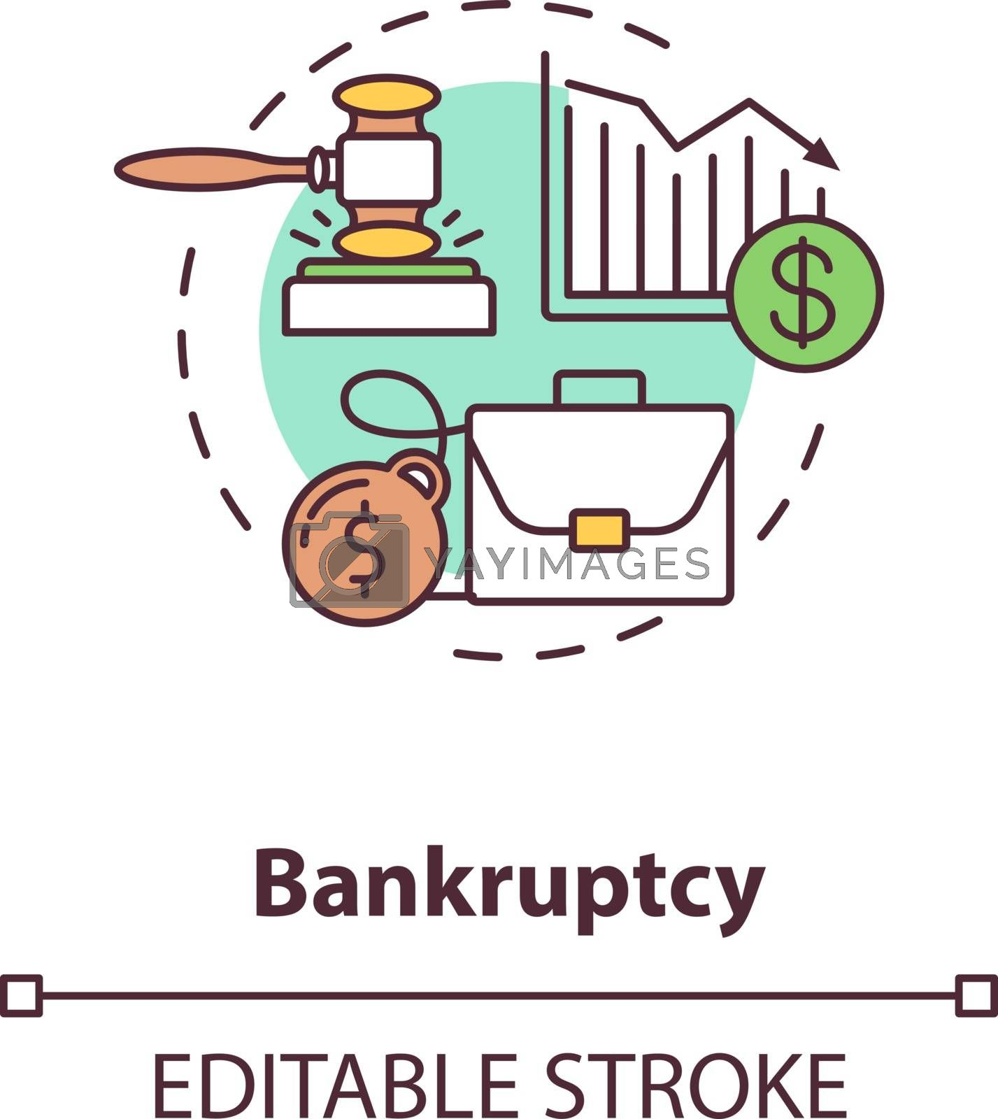 Bankruptcy concept icon. Company loss. Business recession. Economic crisis. Financial management problem idea thin line illustration. Vector isolated outline RGB color drawing. Editable stroke