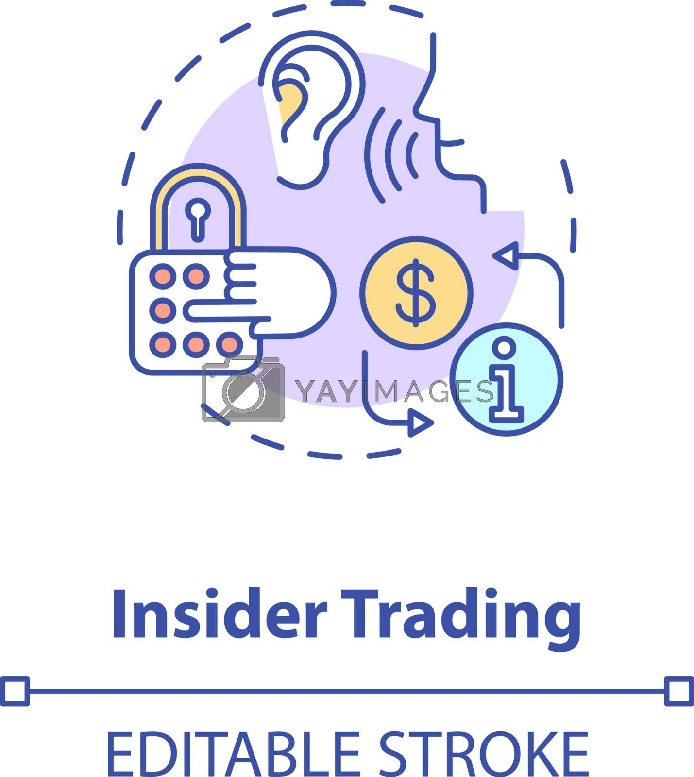 Insider trading concept icon. Non public information selling. Common corporate crime. Secret data buying idea thin line illustration. Vector isolated outline RGB color drawing. Editable stroke
