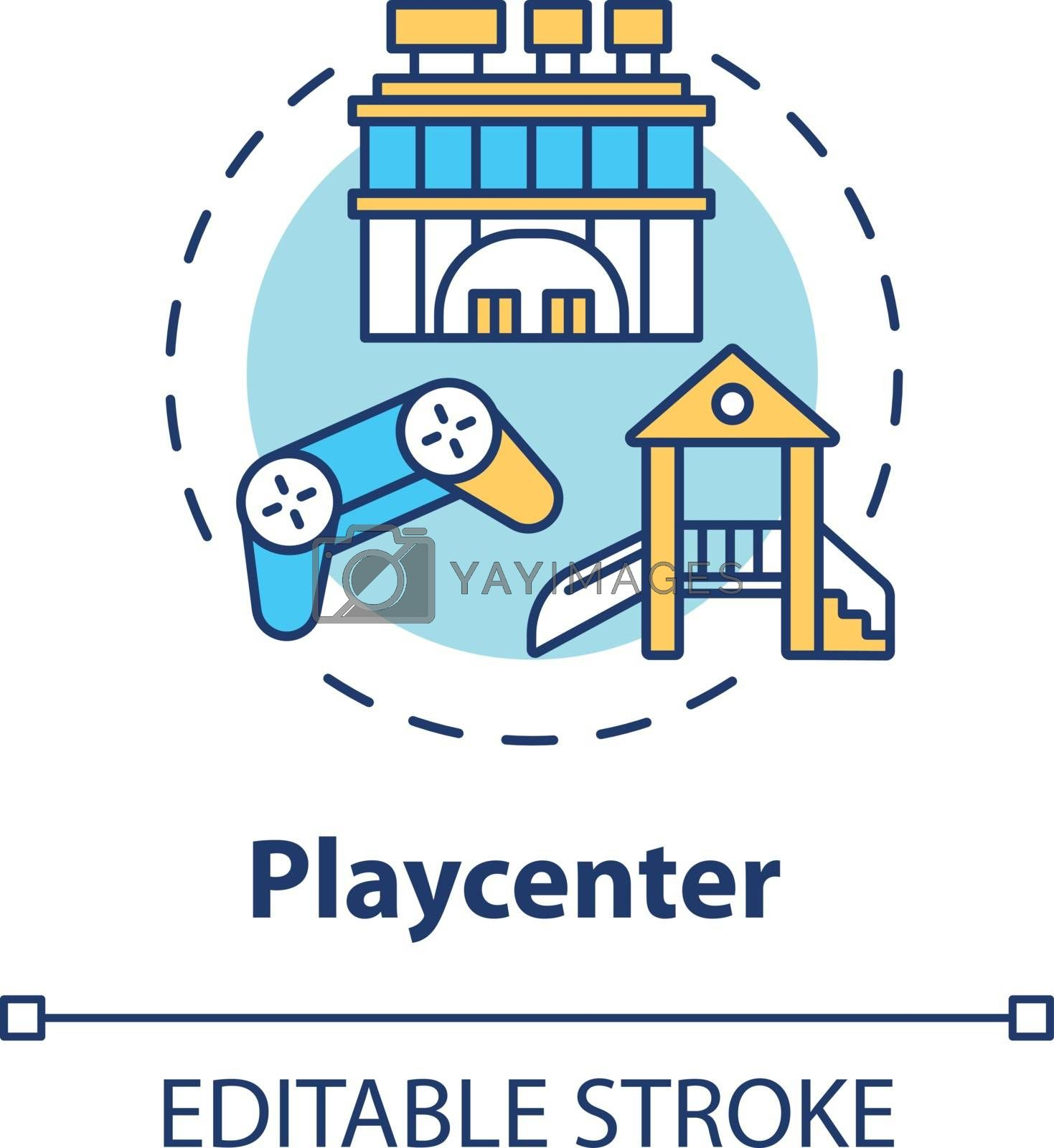 Playcenter concept icon. Children outdoor playground. Preschoolers growth. Toddlers development idea thin line illustration. Vector isolated outline RGB color drawing. Editable stroke
