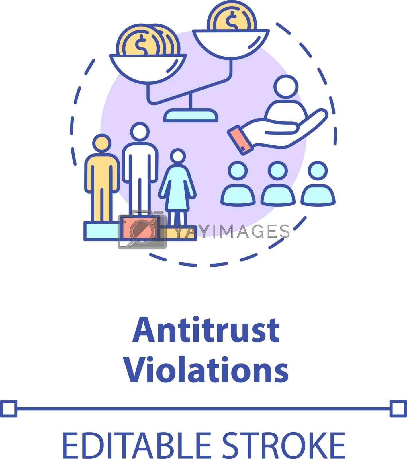 Antitrust violations concept icon. Anti competitive regulation. US common corporate crime. Competitive law idea thin line illustration. Vector isolated outline RGB color drawing. Editable stroke