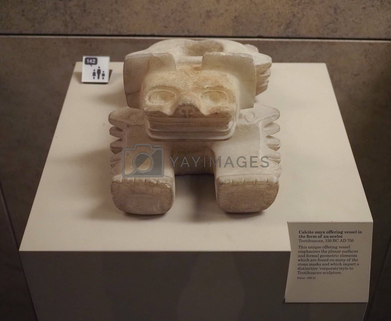 LONDON, UK - CIRCA SEPTEMBER 2019: Calcite onyx offering vessel in the form of an ocelot at The British Museum