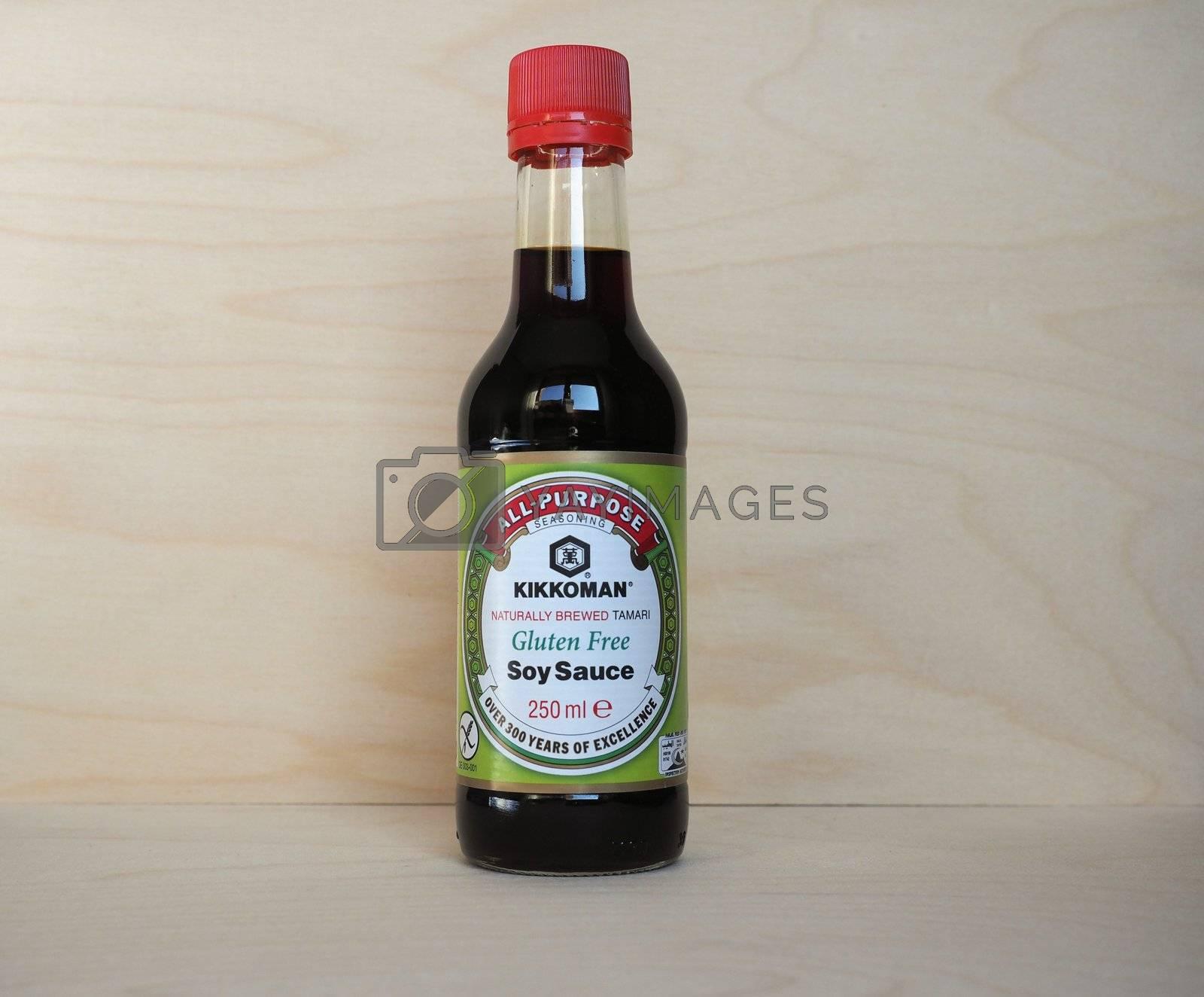 TOKYO, JAPAN - CIRCA MARCH 2020: Kikkoman soy sauce bottle