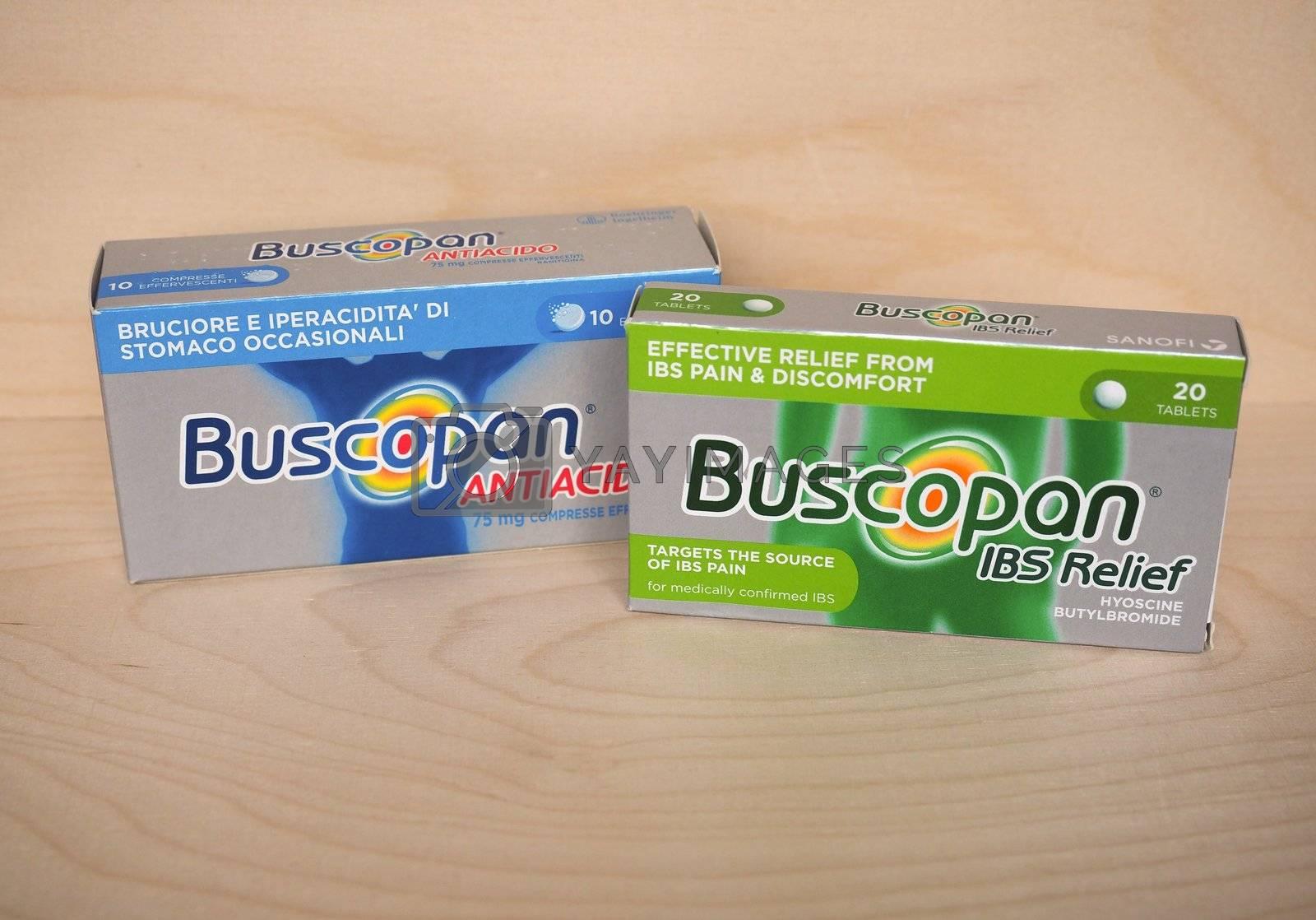 LONDON, UK - CIRCA MAY 2020: Sanofi Buscopan IBS Relief tablets of Hyoscine Butylbromide and Antacid pills