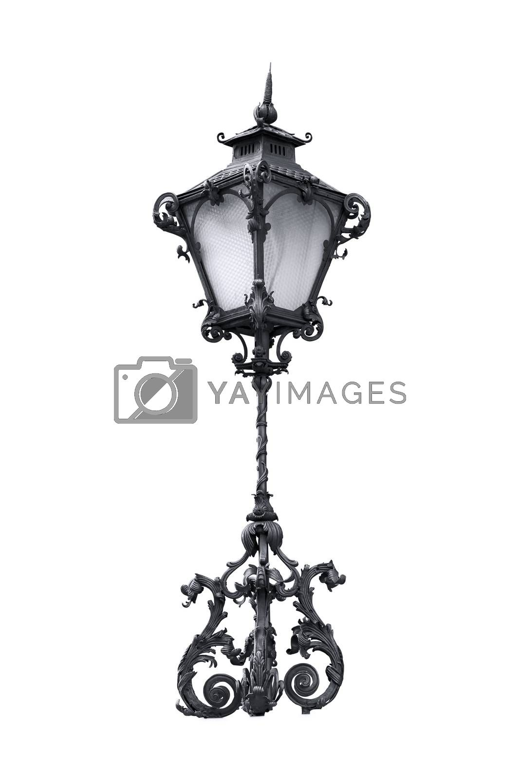 Decorative street lantern isolated on white background with clipping path