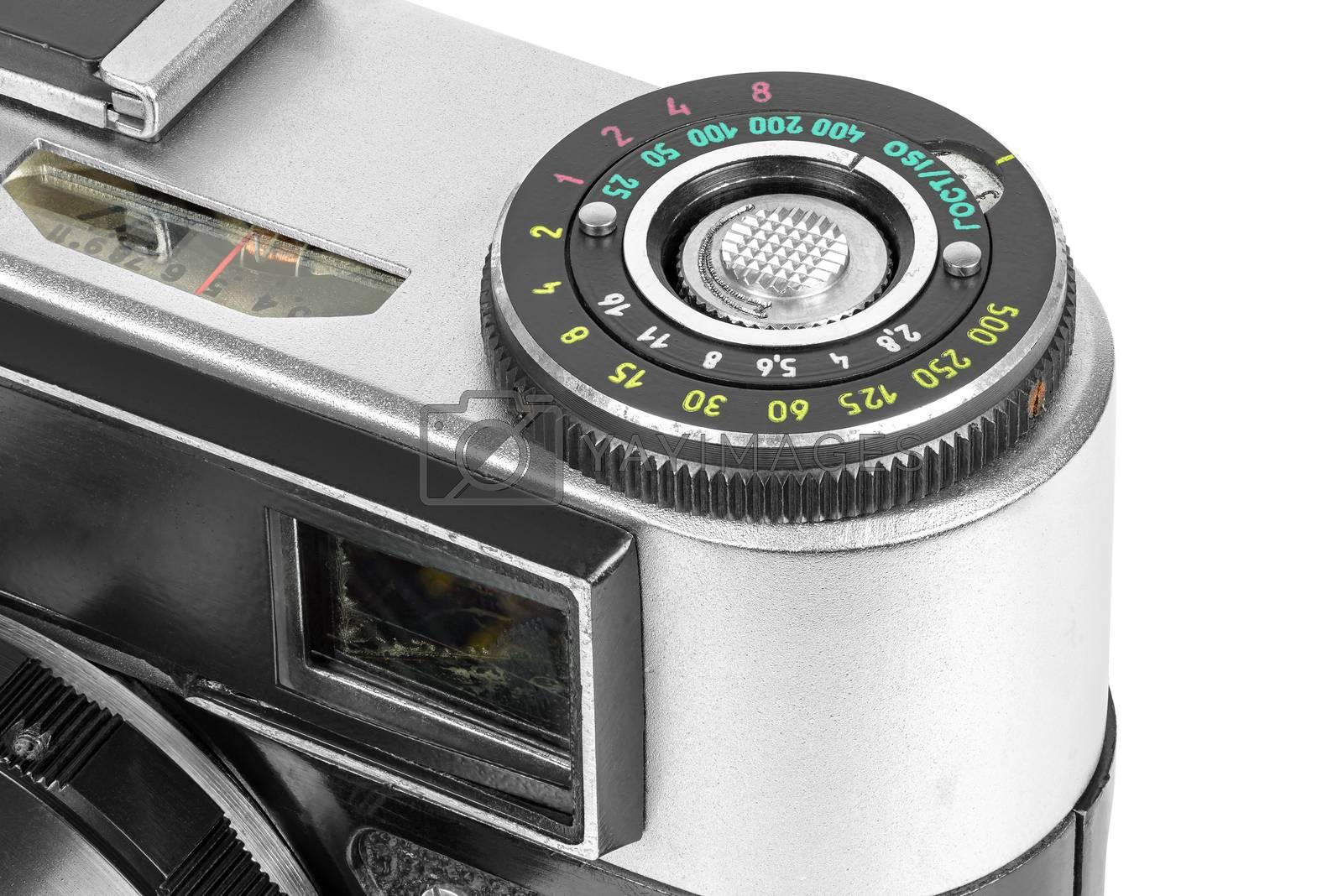Closeup of control wheel of vintage camera