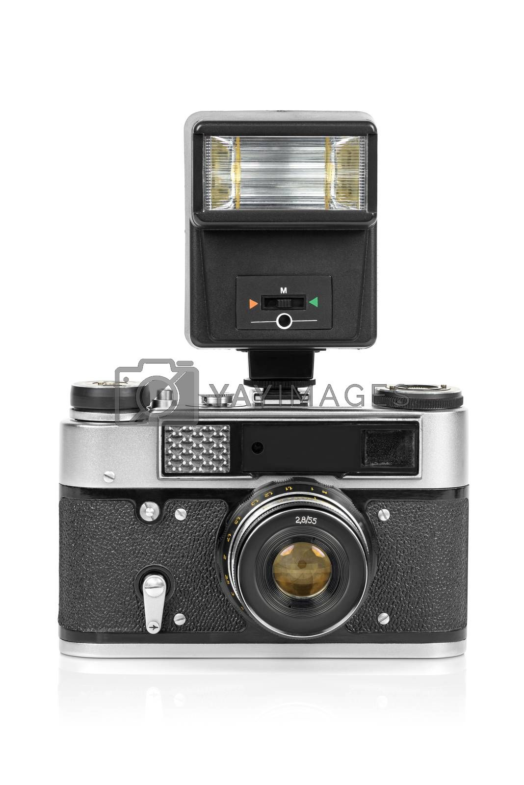 Vintage analog camera with manual flash light isolated on white background with clippinng path