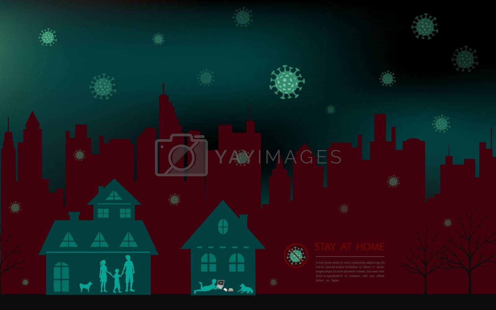 Family stay at home during outbreak of covid-19 virus concept,vector illustration