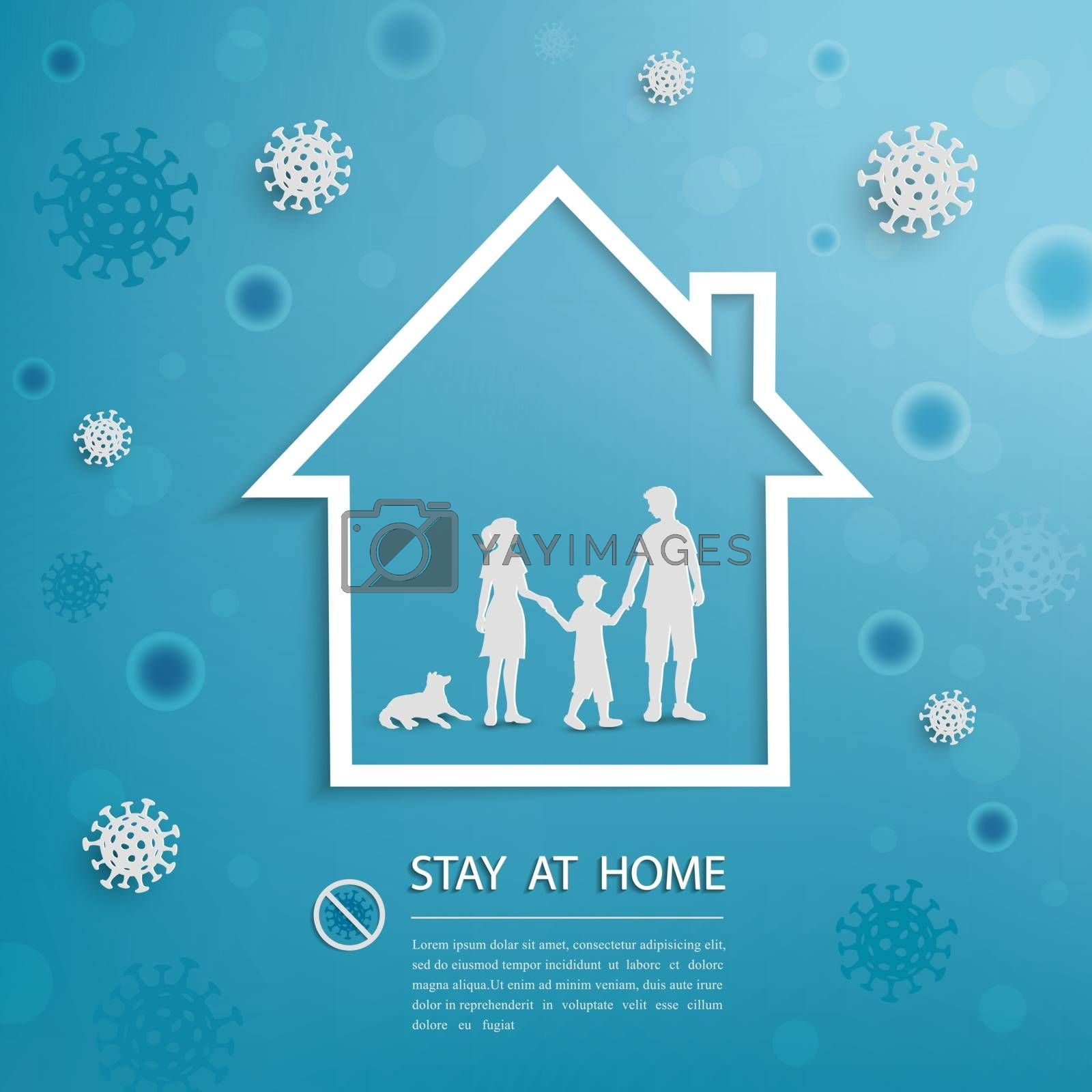 Family stay at home during outbreak of covid-19 coronavirus,for advertising,banner,template or background,vector illustration