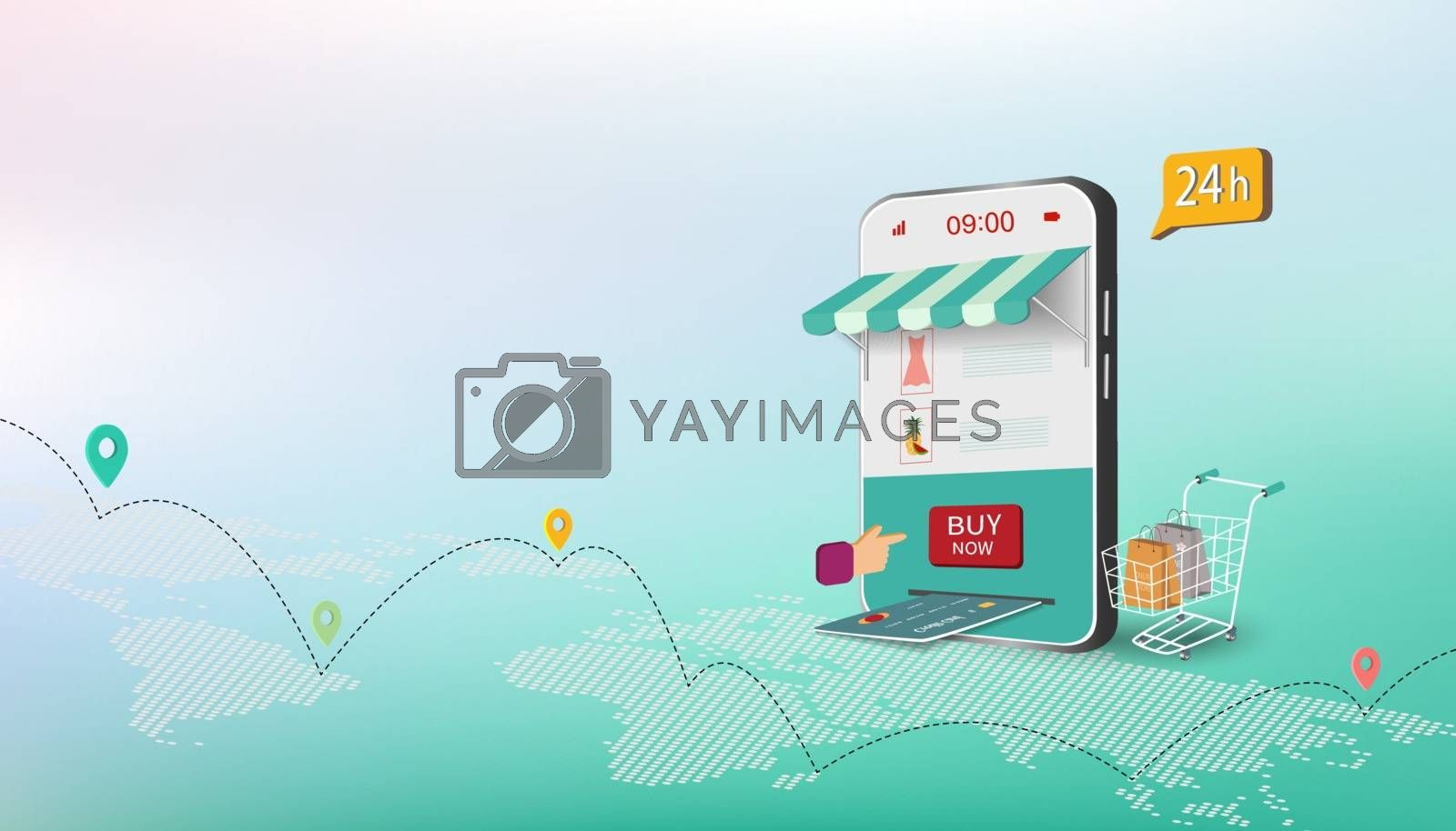Isometric business concept with shopping online on website or mobile application,vector illustration
