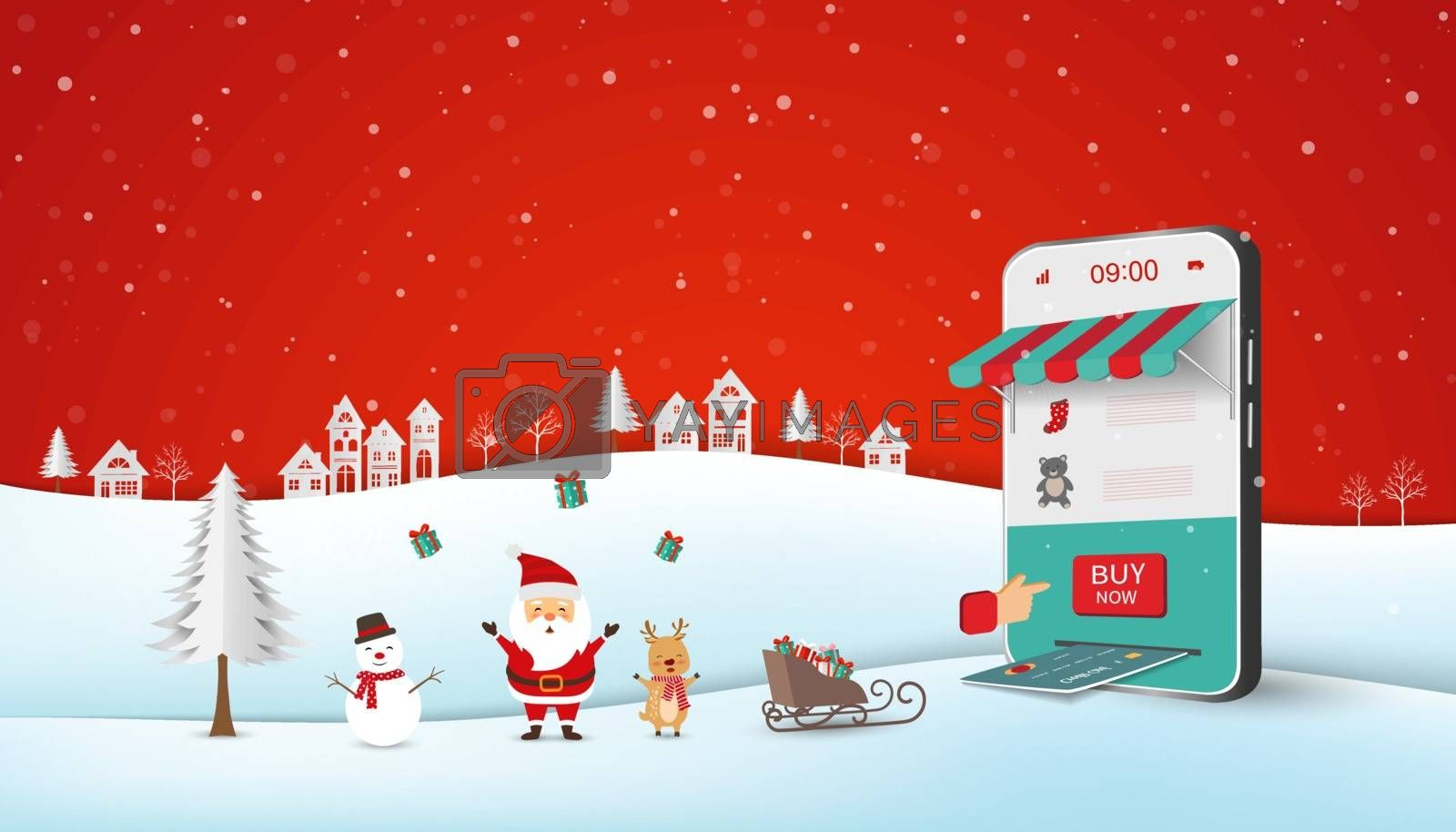 Santa Claus shopping online on website or mobile application,business concept with Merry Christmas and Happy New Year,vector illustration
