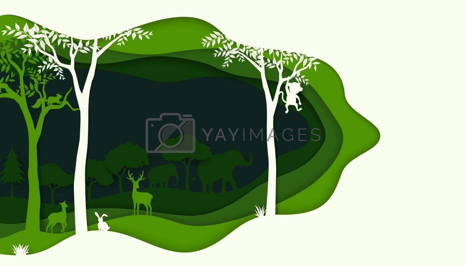 Ecology and environment conservation concept with animals wildlife on green nature forest background,vector illustration