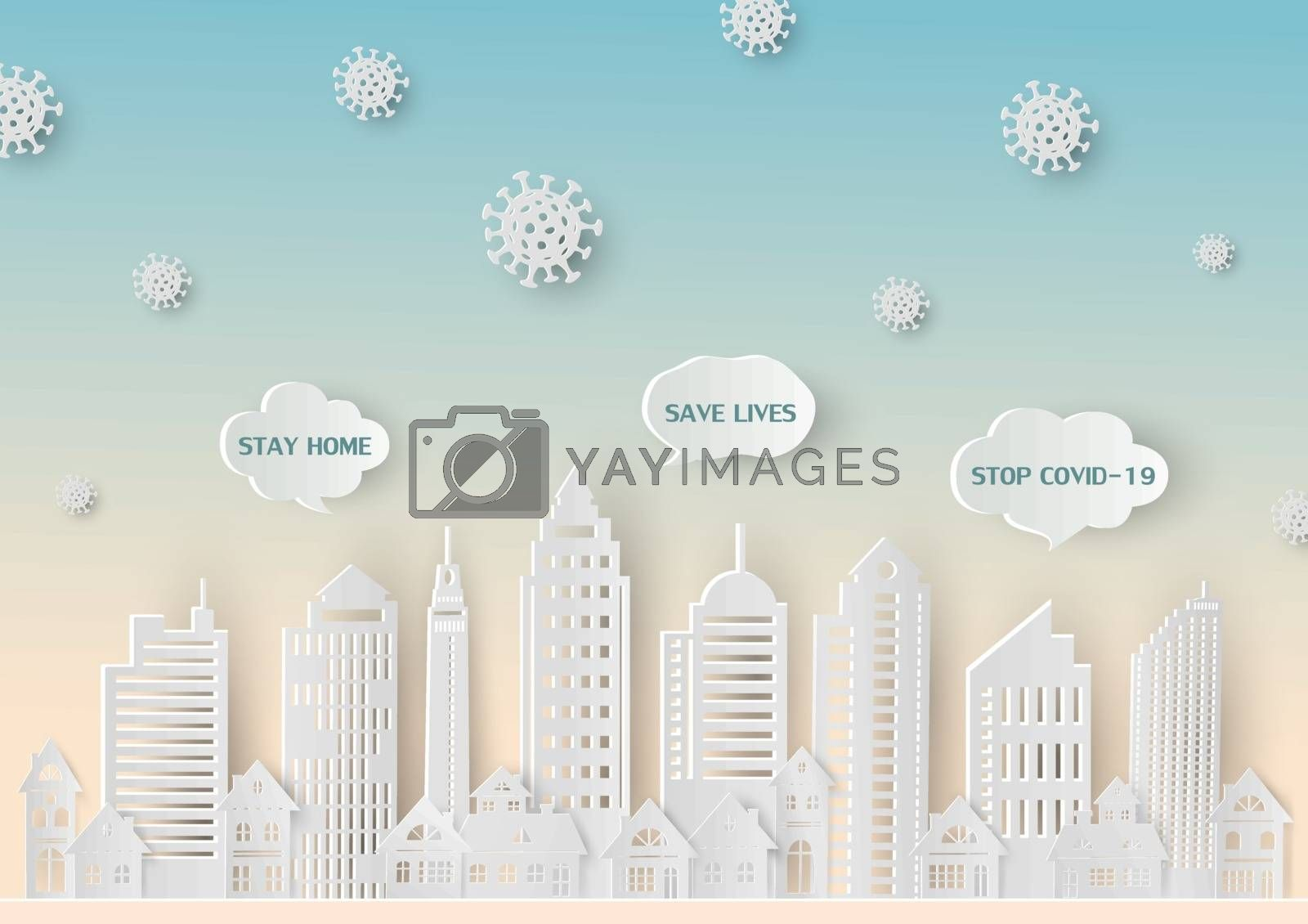 Stop covid-19 coronavirus with concept stay at home save lives on paper art style,vector illustration