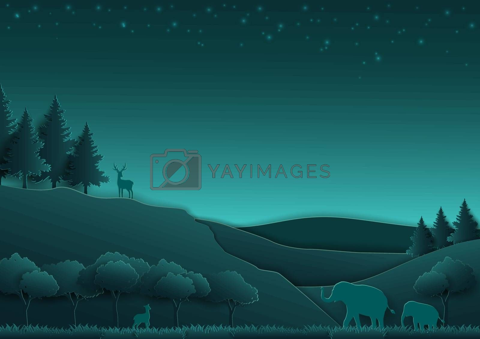 Love animals and nature concept,paper art and digital craft style with forest on night scene background,vector illustration