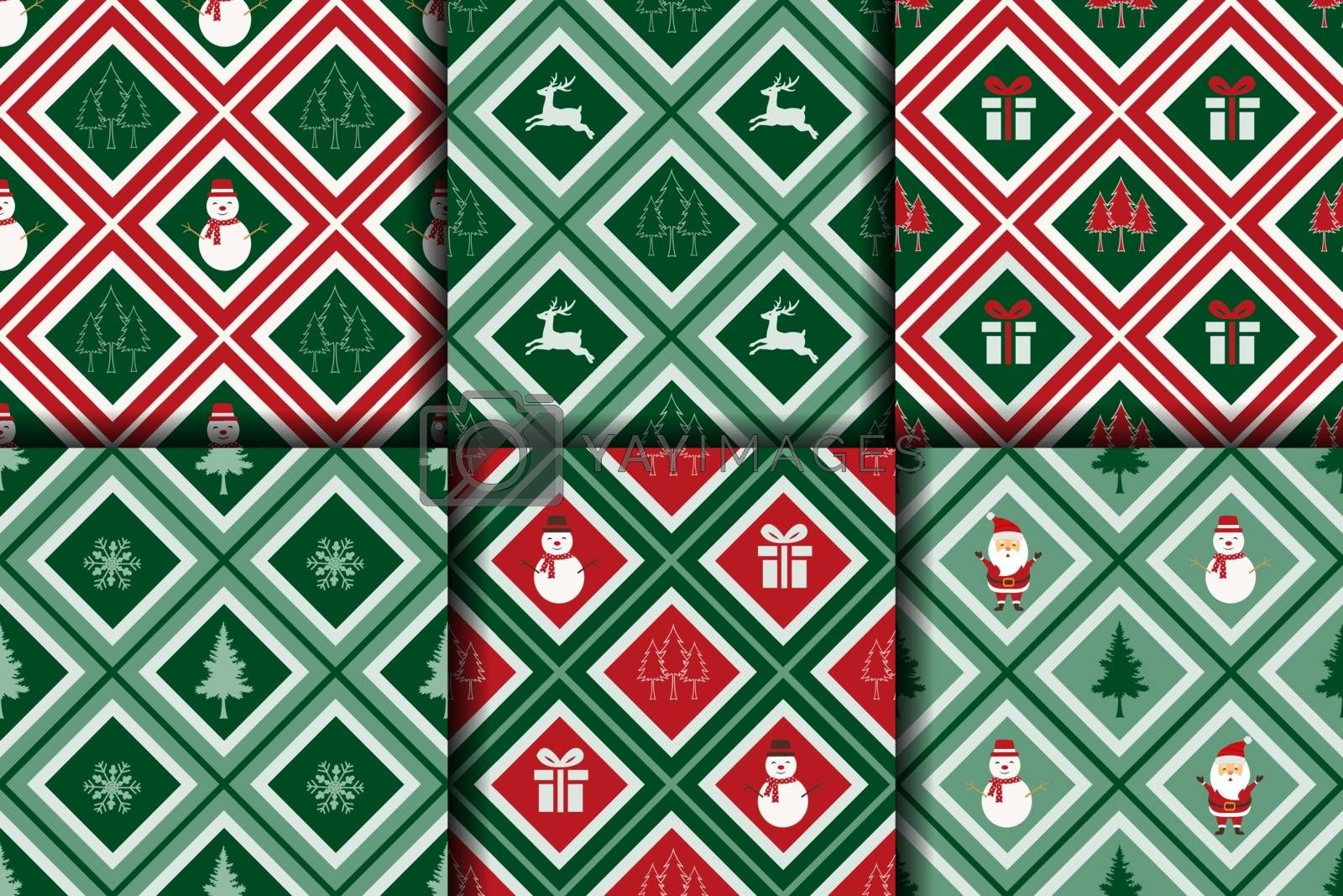Christmas seamless pattern collection on geometric background,for decorative,fabric,textile,print or wallpaper,vector illustration