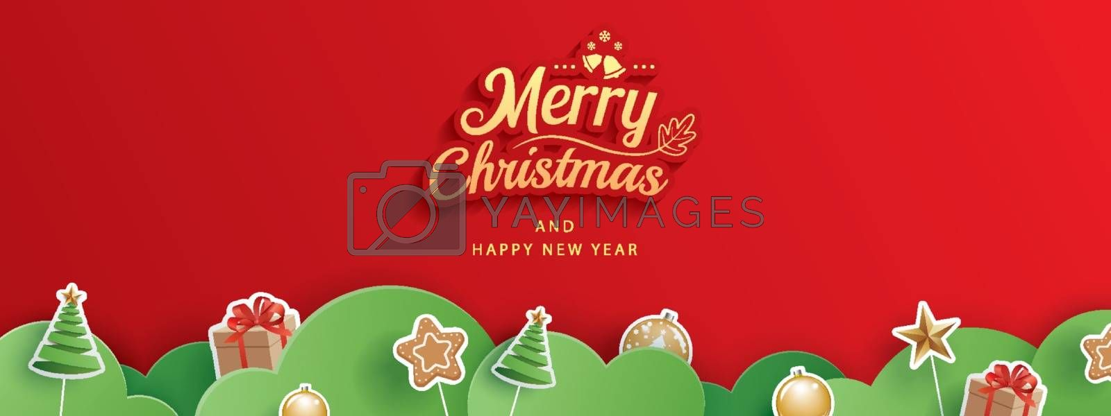 Merry christmas and happy new year red greeting card in paper art banner template. Use for header website, cover, flyer.