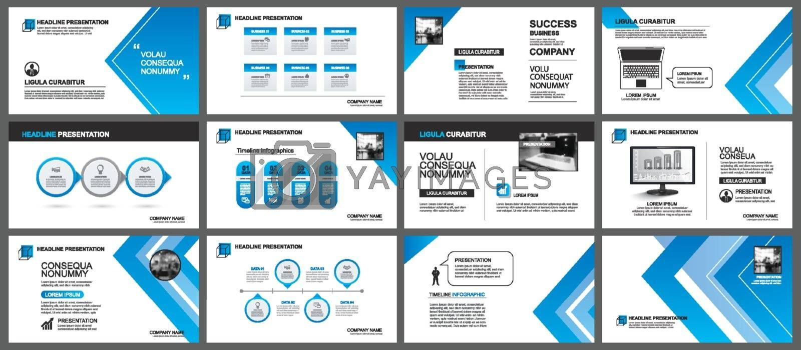 Presentation and slide layout background. Design blue gradient arrow template. Use for business annual report, flyer, marketing, leaflet, advertising, brochure, modern style.