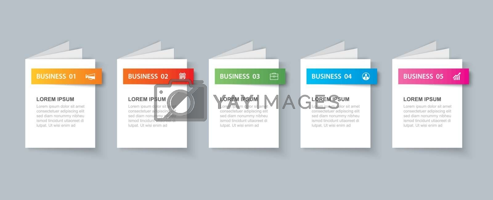 Business infographics book template with 5 data. Can be used for workflow layout, diagram, number options,  web design, presentations