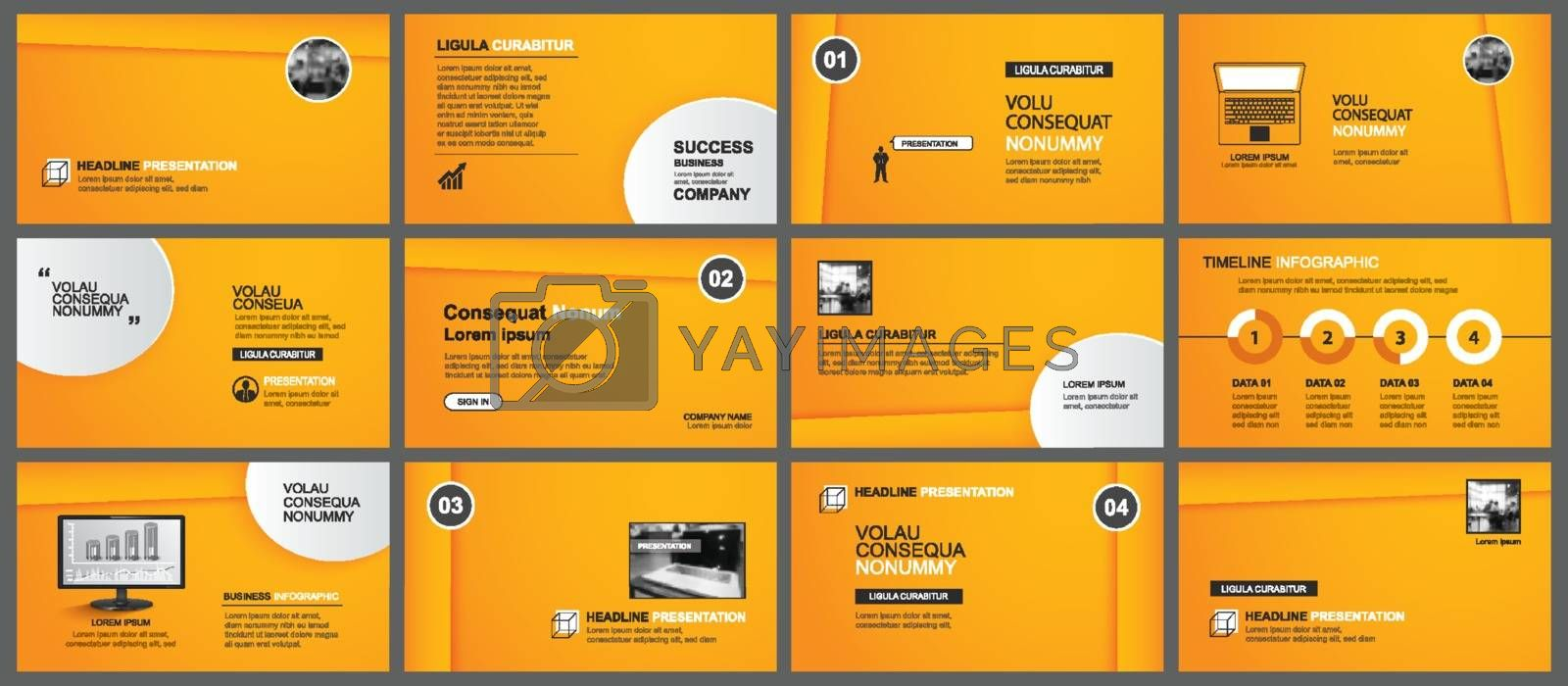 Presentation and slide layout template. Design orange gradient in paper style background. Use for business annual report, keynote, flyer, marketing, leaflet, advertising, brochure.