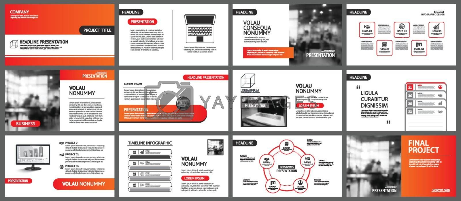 Presentation and slide layout background. Design red and orange gradient geometric template. Use for business annual report, flyer, marketing, leaflet, advertising, brochure, modern style.