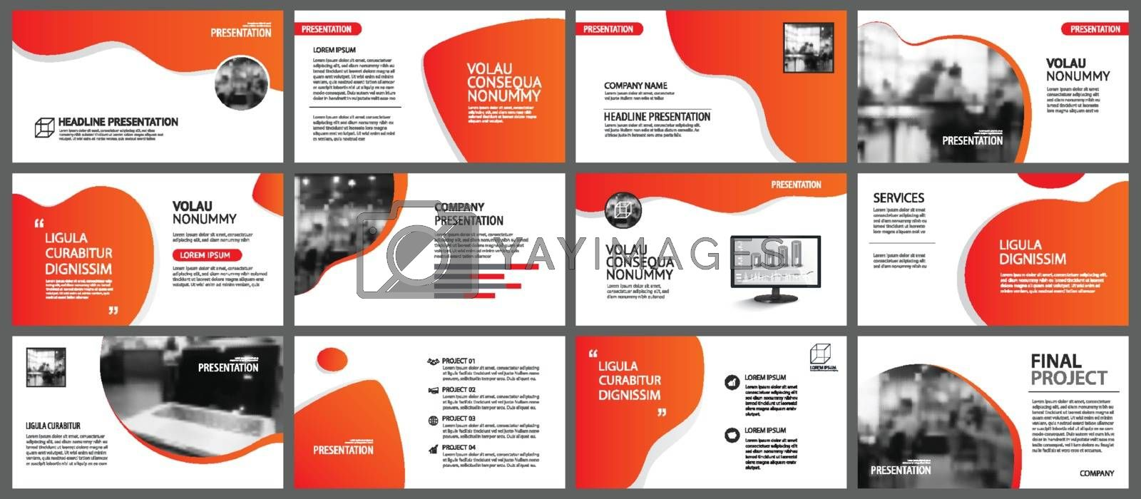 Presentation and slide layout background. Design red and orange gradient template. Use for business annual report, flyer, marketing, leaflet, advertising, brochure, modern style.