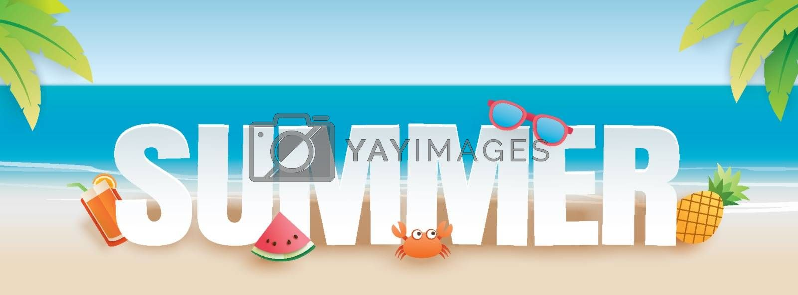 Summer party invitation banner with decoration origami. Paper art and craft style. Vector illustration of life ring, ice cream, camera, watermelon, sunglasses.