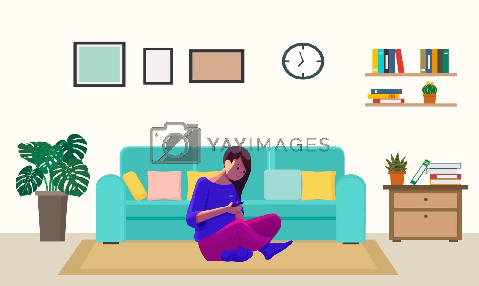 a girl is playing game at home
