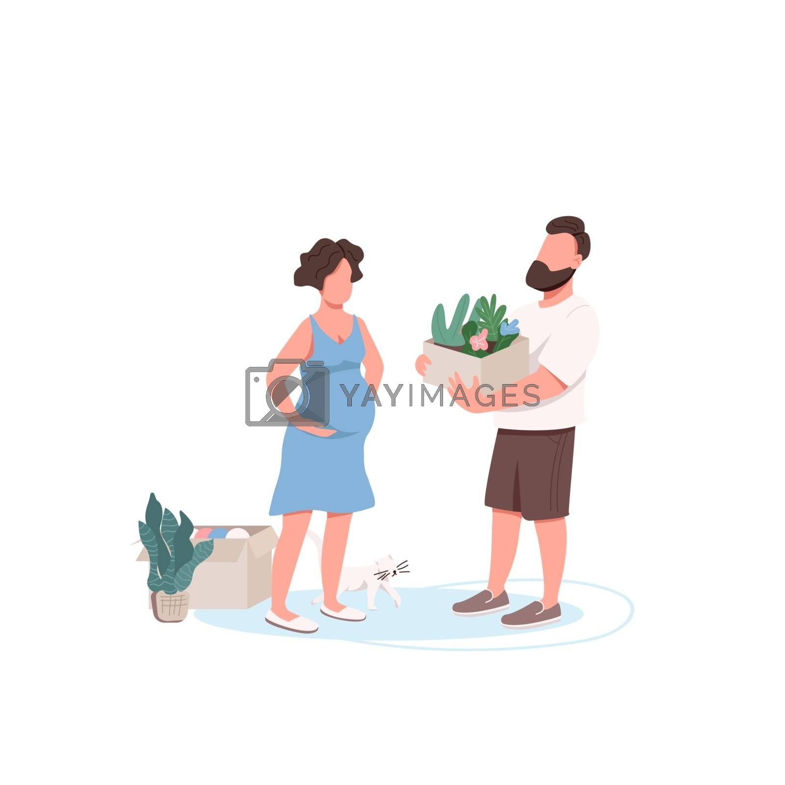 Young family unpacking boxes flat color vector faceless characters. Husband helping pregnant wife. Couple planting flowers together isolated cartoon illustration for web graphic design and animation