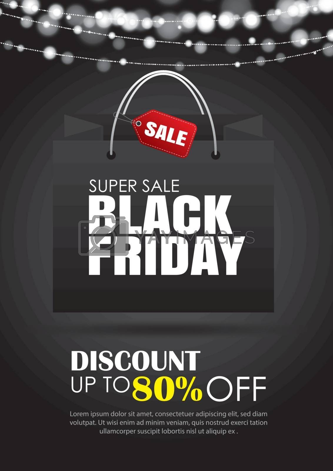 Black friday sale flyer template. Dark background with shopping bag. Use for poster, newsletter, shopping, promotion, advertising.