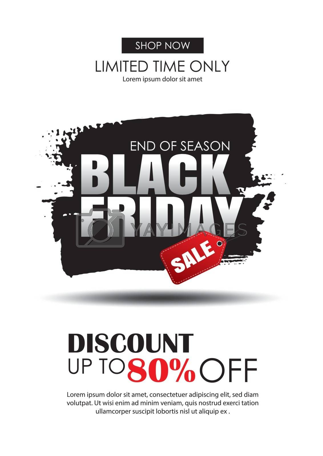 Black friday sale flyer template. White background with text on brush stroke. Use for poster, newsletter, shopping, promotion, advertising.