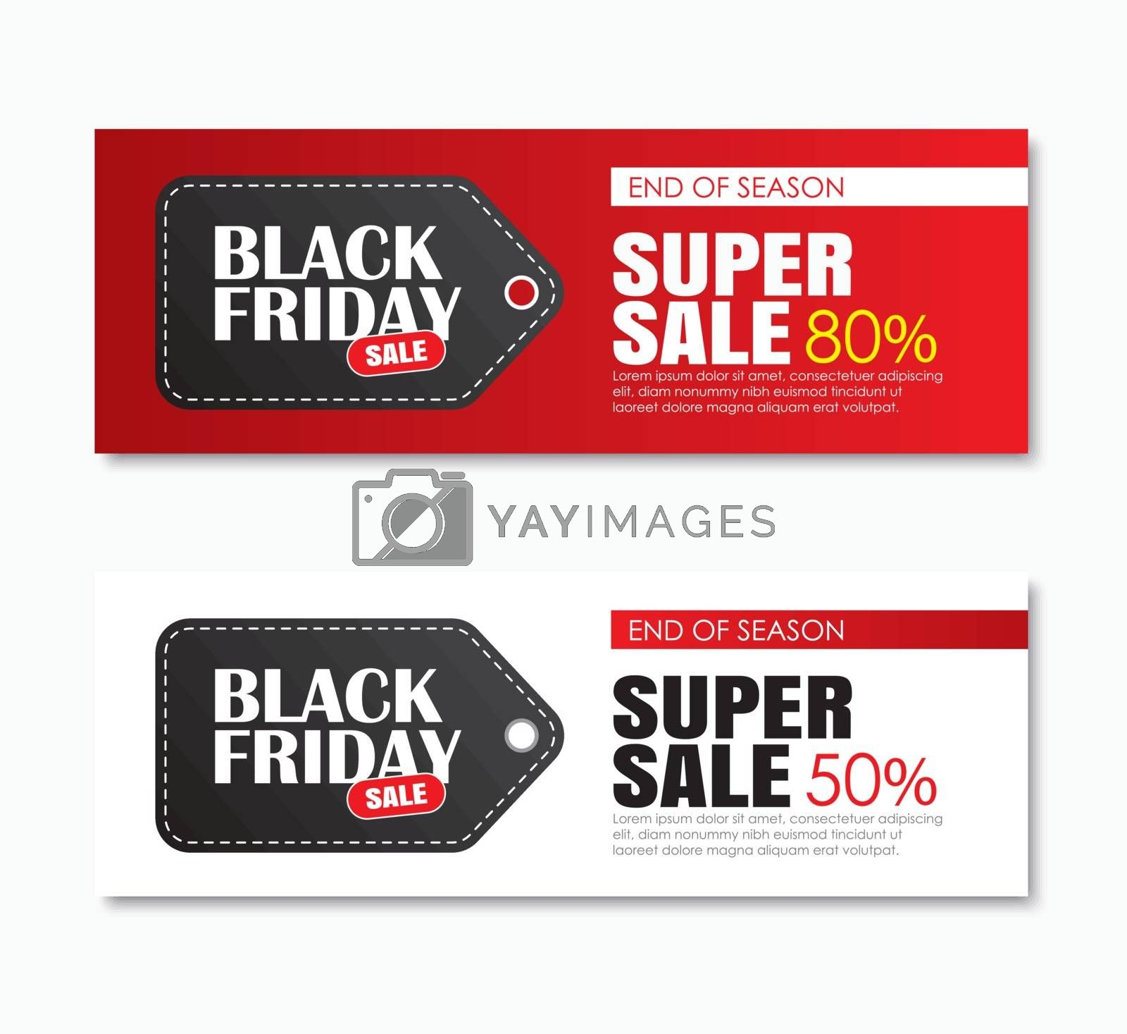 Black friday sale shopping tag cover and web banner design template. Use for poster, flyer, discount, shopping, promotion, advertising.