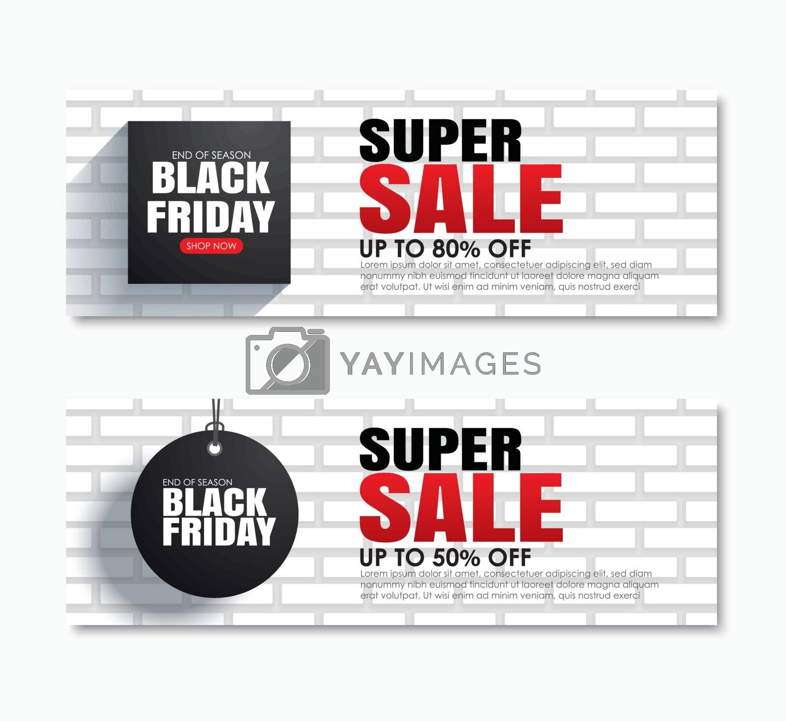 Black friday super sale shopping tag cover and web banner design template. Use for poster, flyer, discount, shopping, promotion, advertising.