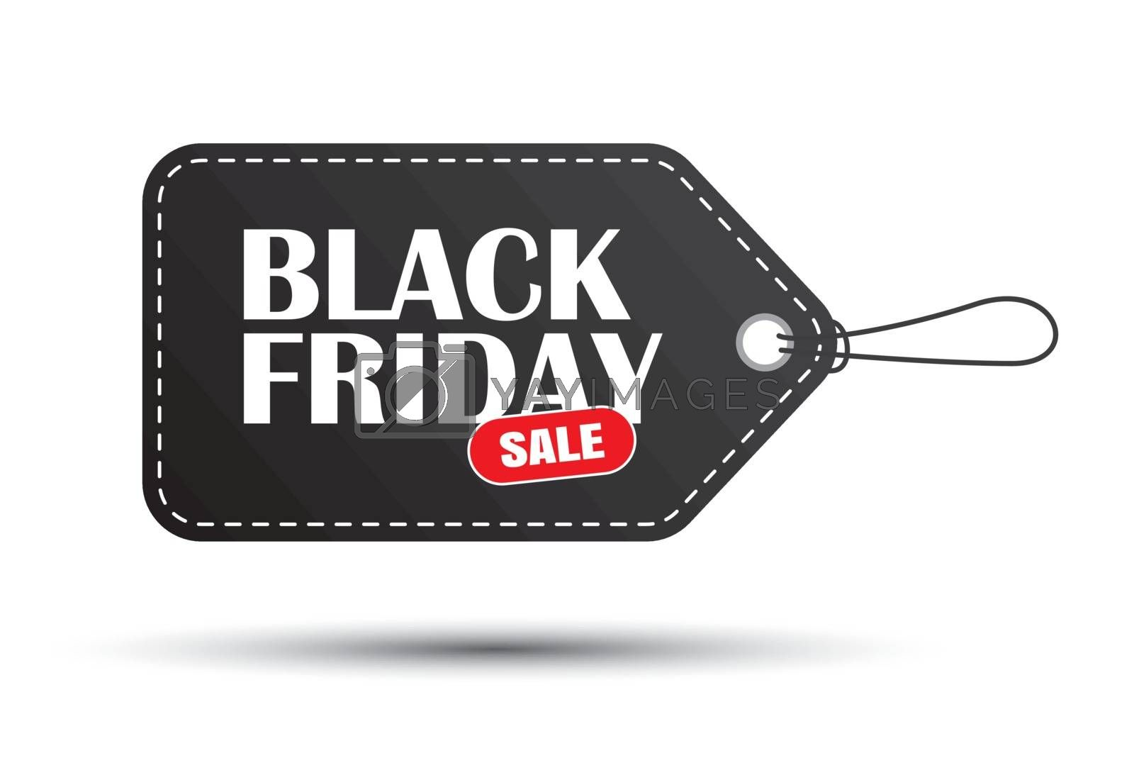 Black friday sale black tag isolated on white background. Use for banner template, discount, shopping, promotion, advertising.