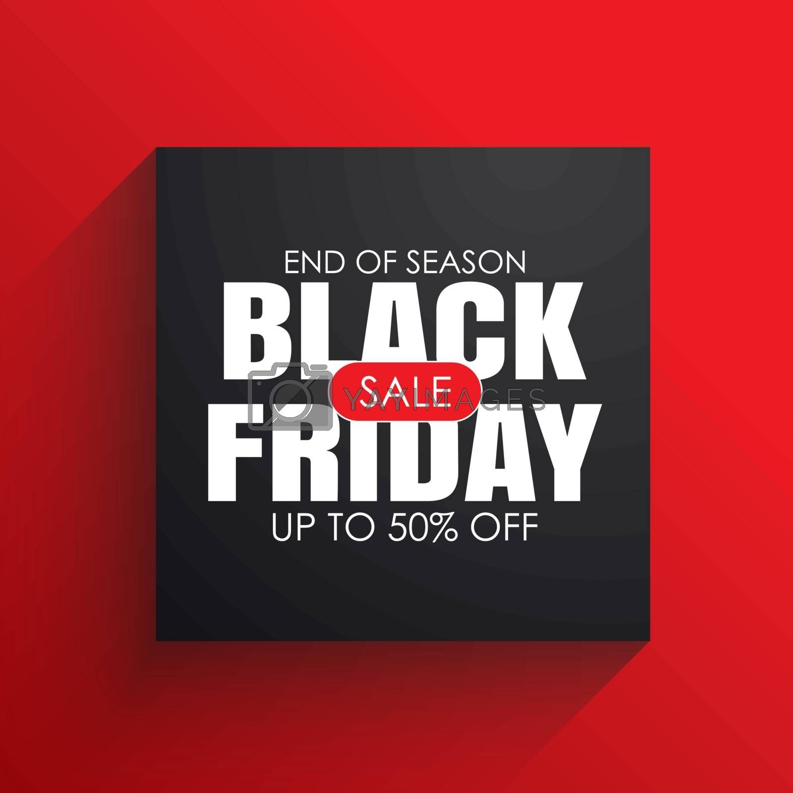 Black friday sale banner with white text on black square background. Use for discount, shopping, promotion, advertising.