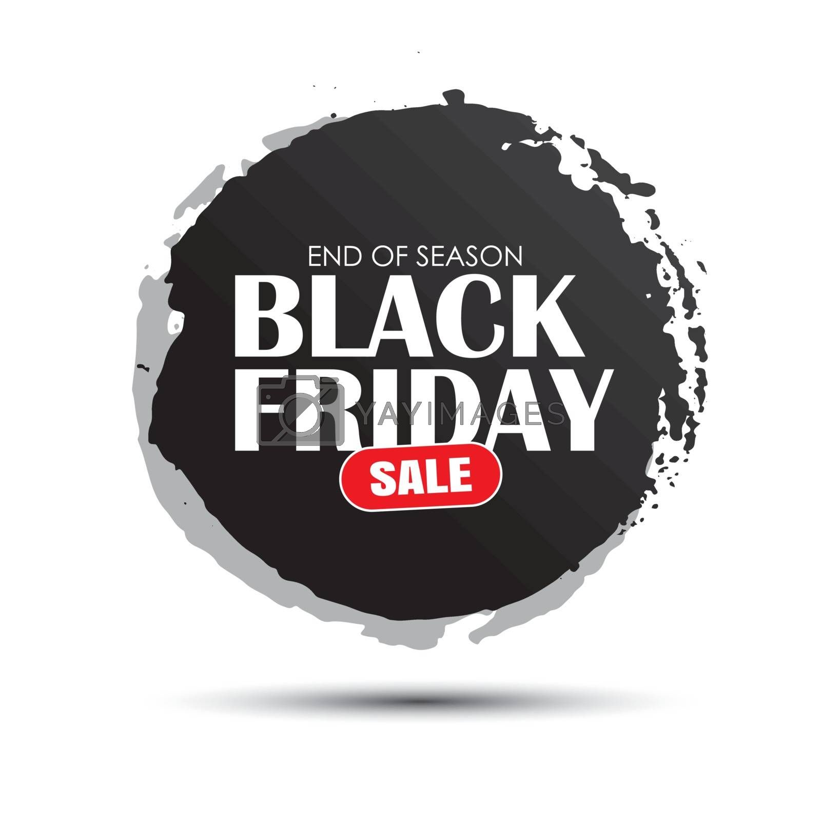 Black friday sale circle banner with white text on grunge black brush stroke. Use for discount, shopping, promotion, advertising.
