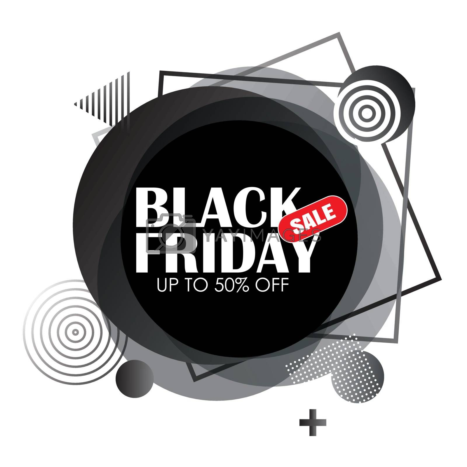 Black friday sale badge circle banner on white background. Use for advertising, label, posters, web, presentation.
