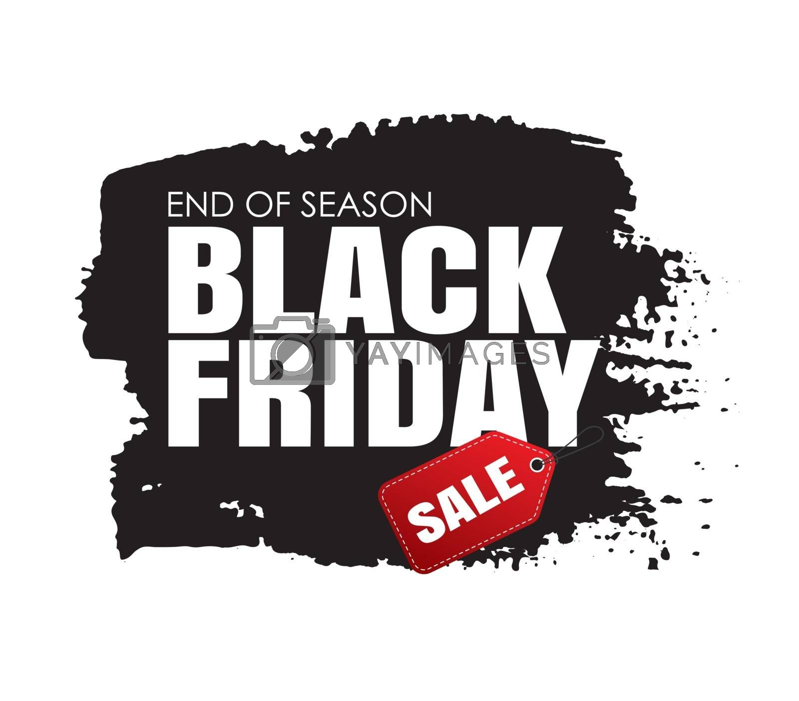 Black friday sale banner with white text on grunge black brush stroke. Use for discount, shopping, promotion, advertising.