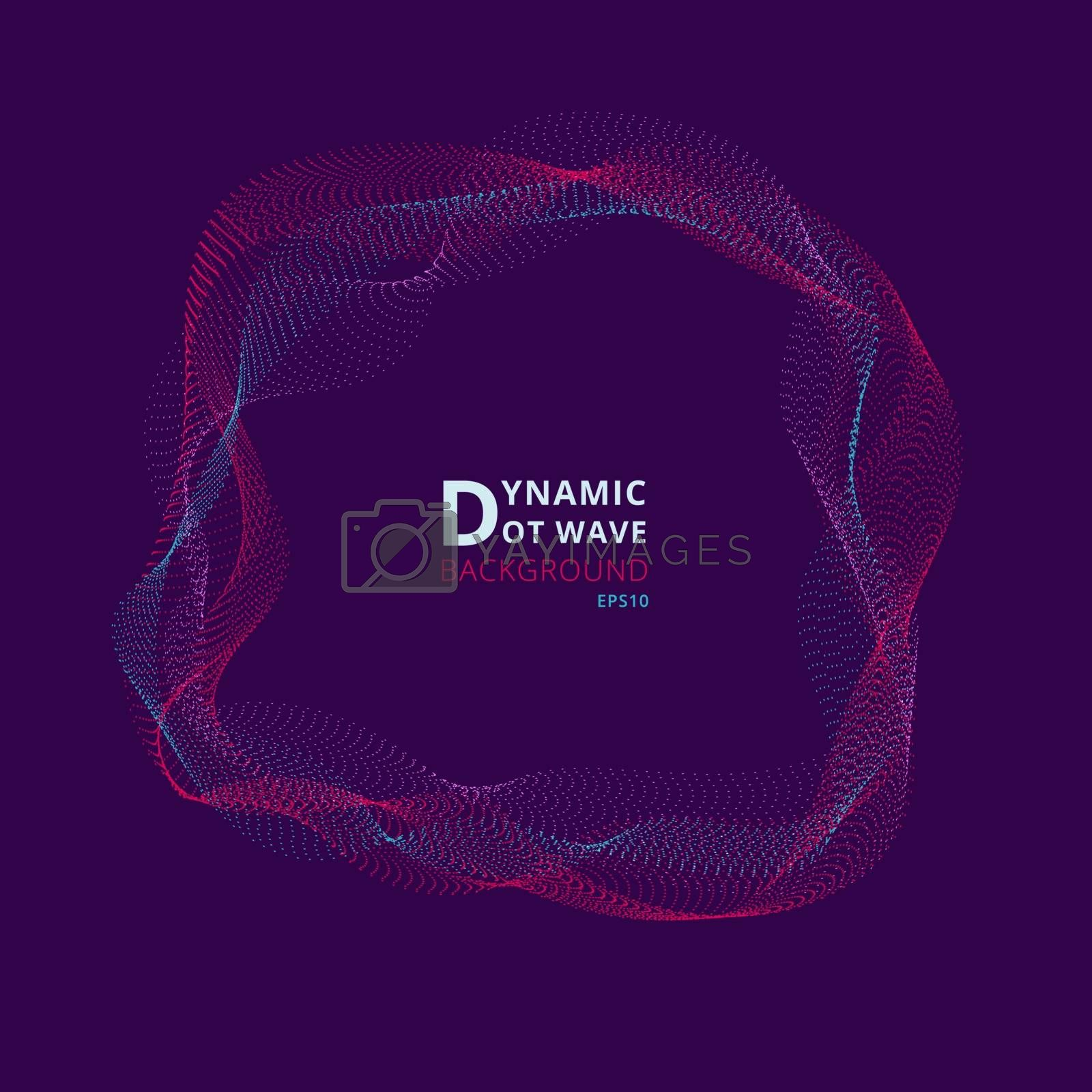 Abstract dynamic round frame particles waves on purple background. Big data visualization concept. Vector illustration