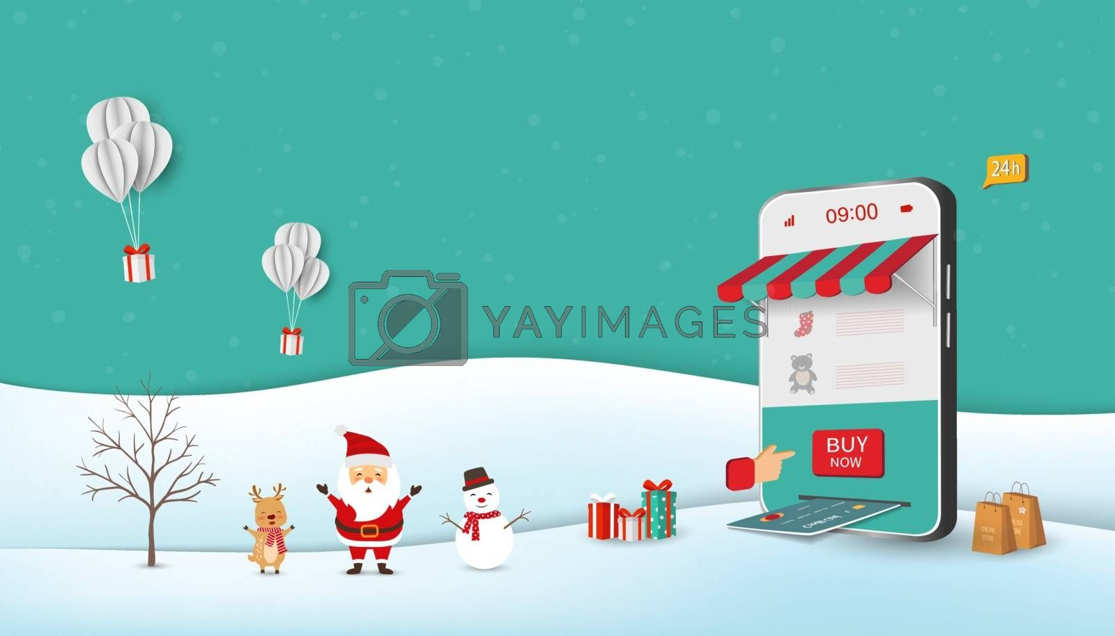 Santa Claus shopping online on website or mobile application,vector illustration