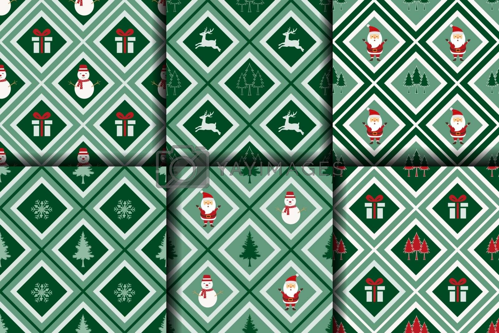 Christmas seamless pattern,winter collection on geometric background for decorative,fabric,textile,print or wrapping paper,vector illustration