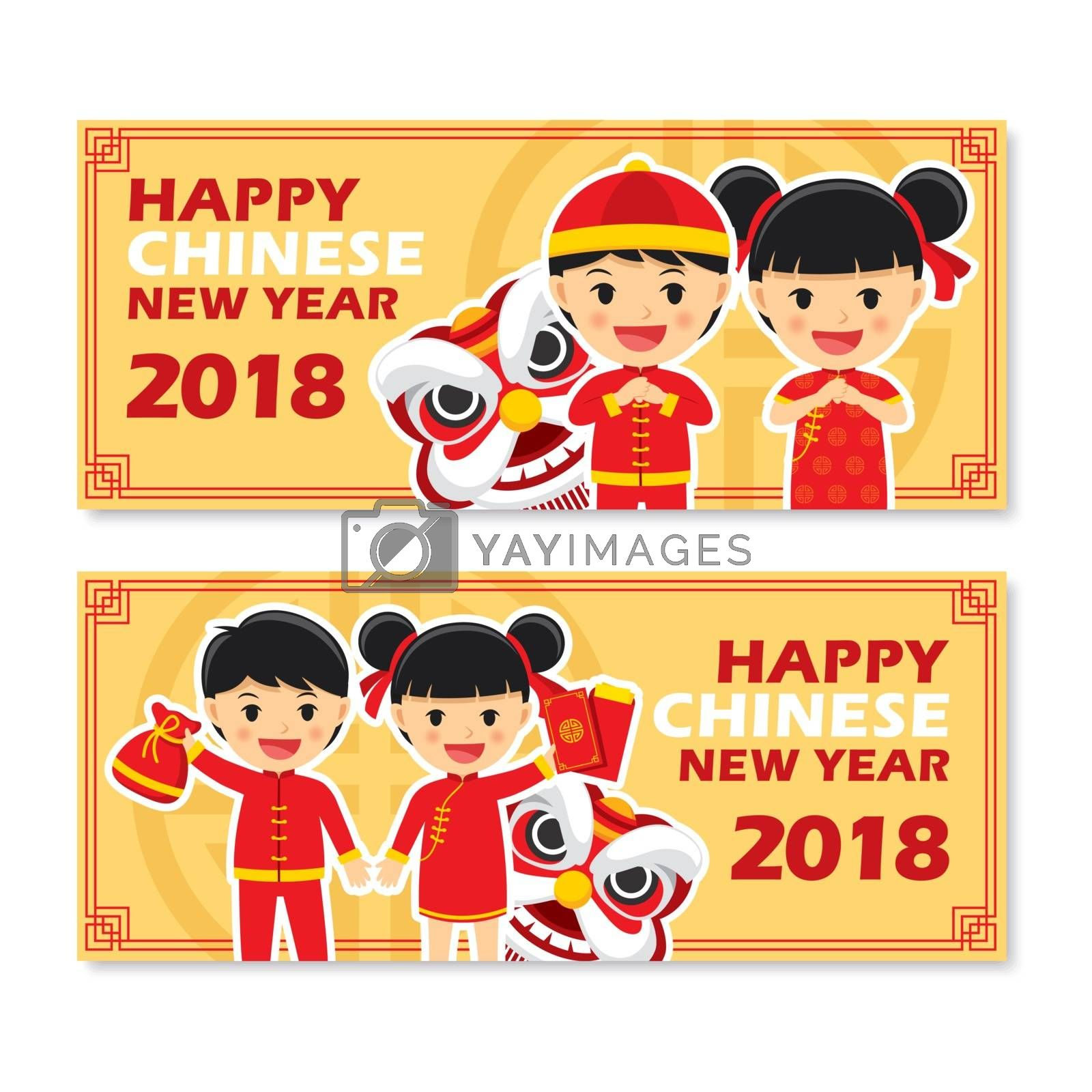 Set of chinese new year greetings card.