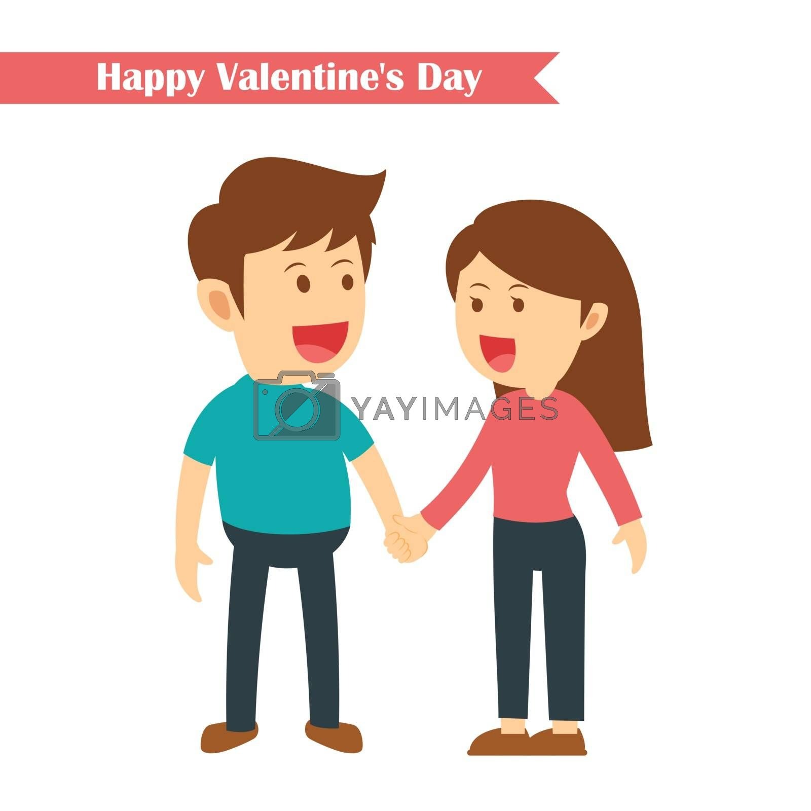 characters couples holding hands in happy valentines day isolated on white background
