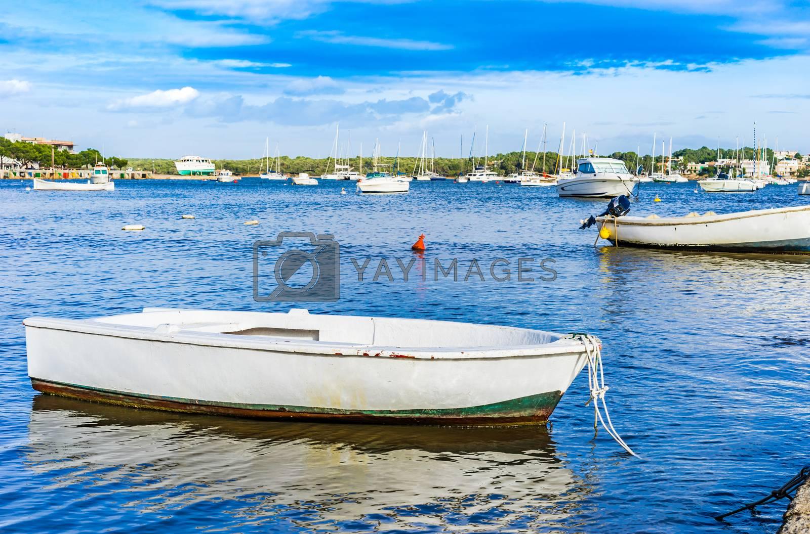 Spain Balearic islands, harbour of Portocolom, Mallorca Mediterranean Sea